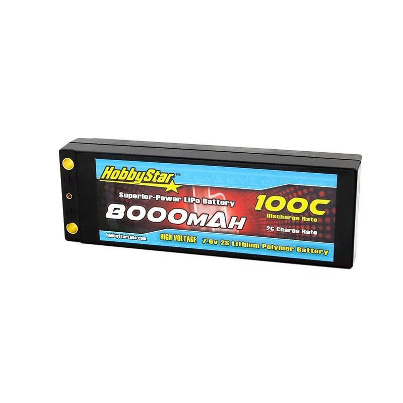 8000mAh 7.6V, 2S HV 100C  Hardcase