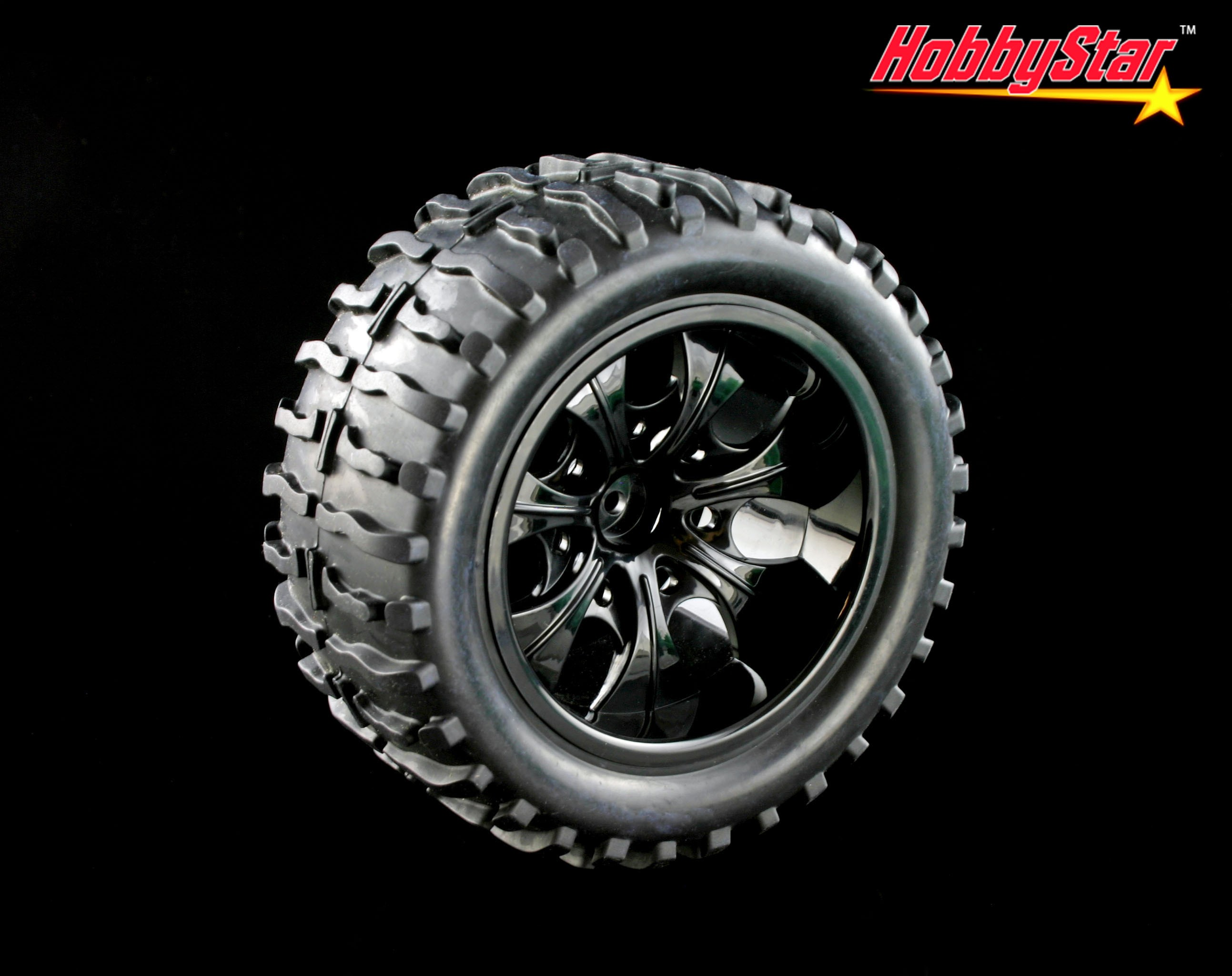 HobbyStar Sling-Star Tires On Blade Wheels, 1/10 MT