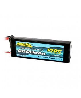 8000mAh 7.4V, 2S 100C